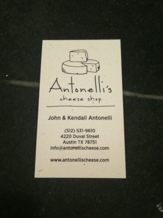 Antonelli's Cheese Shop Business Card